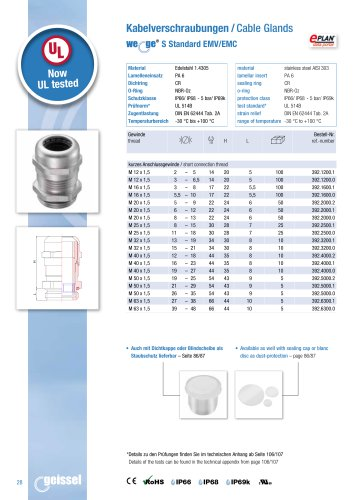 wege® S Standard EMC Cable Gland data sheet
