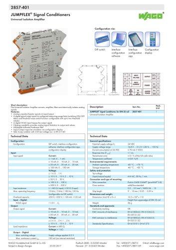 2857-401 JUMPFLEX® transducer; Universal isolation amplifier