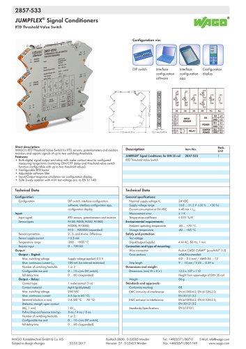 2857-533 JUMPFLEX® transducer; RTD Threshold value switch