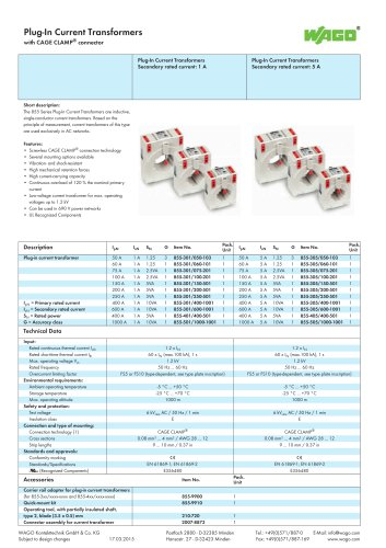 Plug-In Current Transformers with CAGE CLAMP® connector