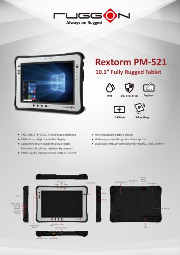 """PM-521 10.1"""" Fully Rugged Windows / Android Tablet"""