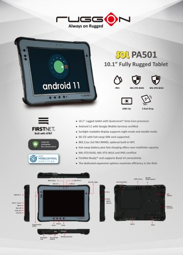 SOL PA501 10.1'' Fully Rugged Android Tablet