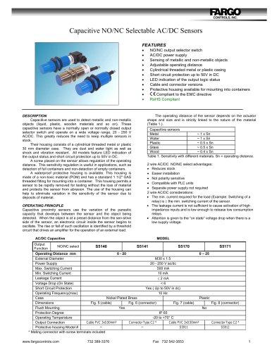Capacitive NO/NC Selectable AC/DC Sensors