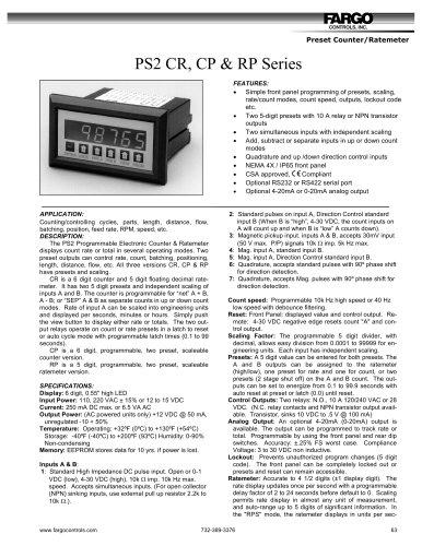 PS2 CR, CP & RP Series