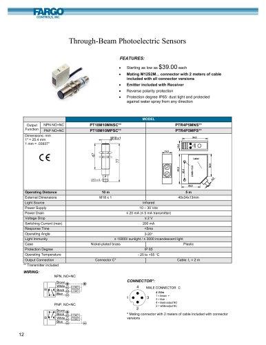 Through-Beam Photoelectric Sensors