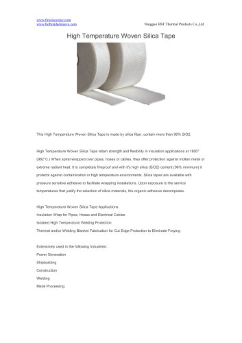 BSTFLEX High Temperature Woven Silica Tape for high temperature protection