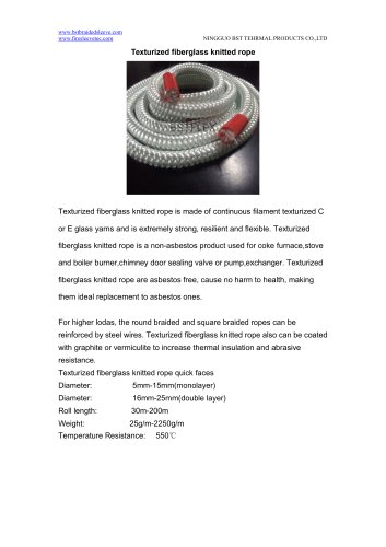 BSTFLEX Texturized fiberglass knitted rope