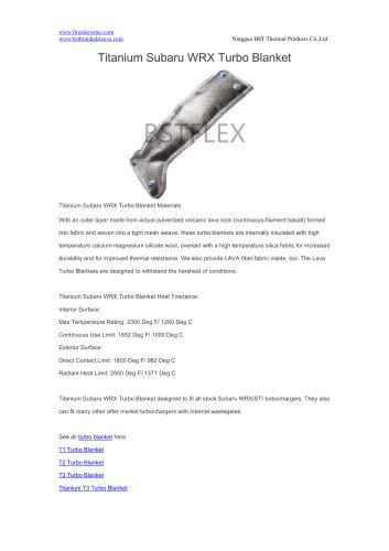 BSTFLEX Titanium Subaru WRX Turbo Blanket