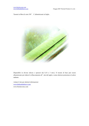 Tessuto in fibra di vetro 550° C alluminizzato in foglio
