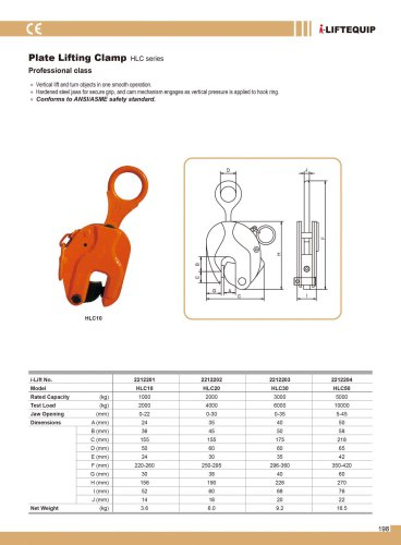 MATERIAL HANDLING EQUIPMENT/I-LIFT/PLATE LIFTING CLAMP/HLC SERIES