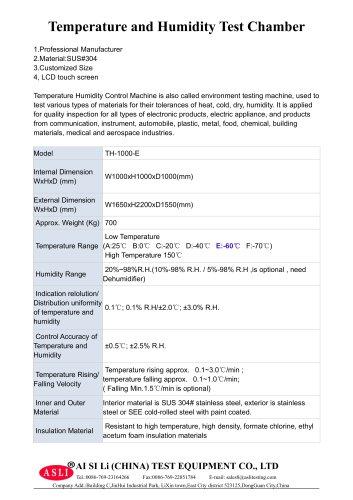 climatic test cabinet / humidity and temperature / temperature / alternating TH-1000-E