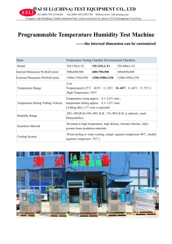 climatic test chamber / stability / humidity and temperature / with temperature and climatic control TH-225-F