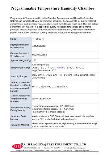 humidity environmental chamber / temperature / with constant temperature and humidity control / with cyclical temperature/humidity control TH-80-D