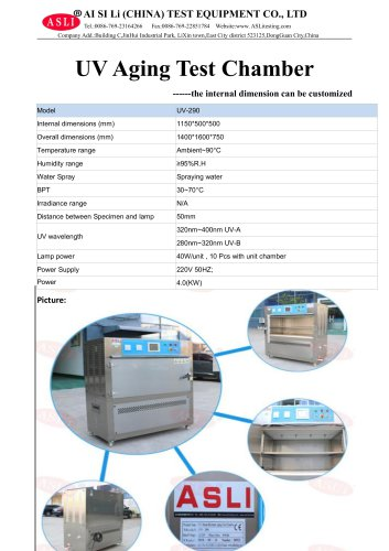 solar simulation test chamber / UV light aging / temperature / illumination UV-290