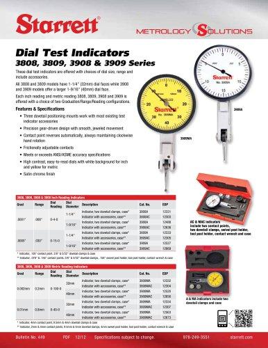 Dial Test Indicators 3808, 3809, 3908 & 3909 Series