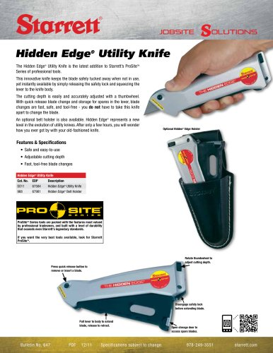 HIDDEN EDGE UTILITY KNIFE