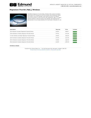 Magnesium Fluoride (MgF2) Windows