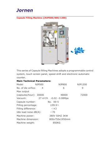 Jornen Machinery/Capsule Filling Machine, suitable for powder, pellets, granules, herbs, vitamins(NJP500/800/1200)