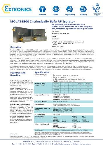 Intrinsically Safe RF Galvanic Isolator iSOLATE500
