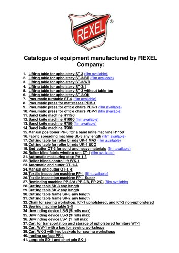 Catalogue of equipment manufactured by REXEL
