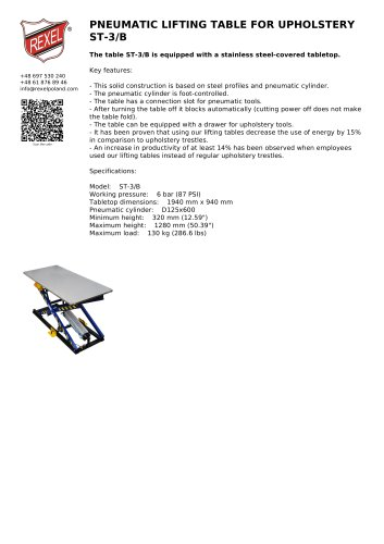 PNEUMATIC LIFTING TABLE FOR UPHOLSTERY ST-3/B