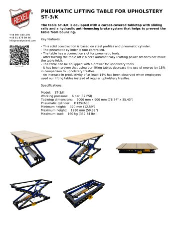 PNEUMATIC LIFTING TABLE FOR UPHOLSTERY ST-3/K