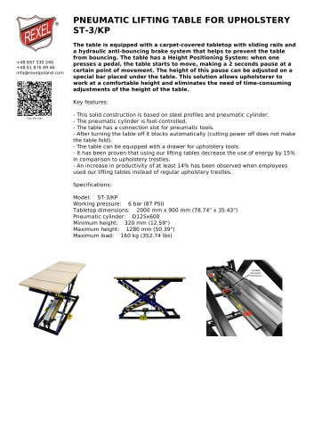 PNEUMATIC LIFTING TABLE FOR UPHOLSTERY ST-3/KP