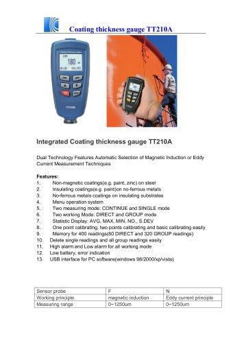 Coating thickness gauge TT210A