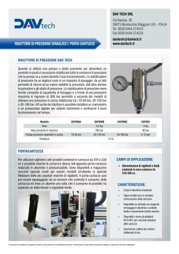 Riduttore pressione idraulico - Porta cartucce