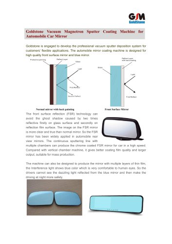 Goldstone Magnetron Sputter Coating Machine for Car Mirror