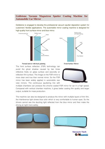 Goldstone Vacuum Sputter Coating Machine for Automobile Car Mirror