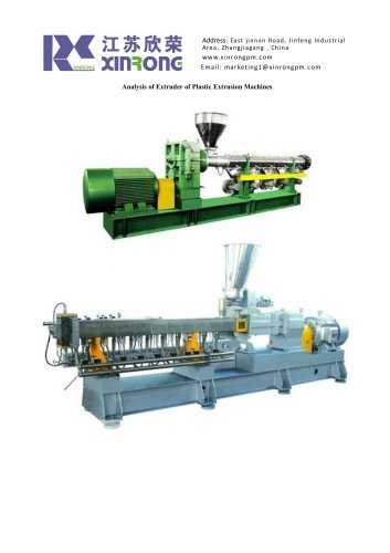Analysis of Extruder of Plastic Extrusion Machines