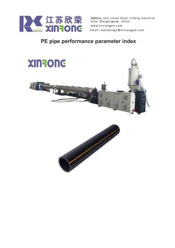 PE pipe performance parameter index