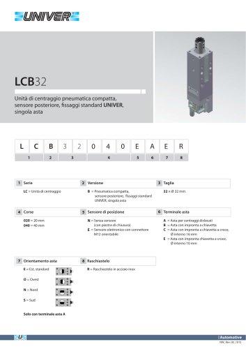 LCB32_Unità di centraggio pneumatica compatta, sensore posteriore, fi ssaggi standard UNIVER, singola asta