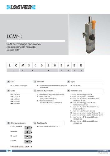 LCM50_Unità di centraggio pneumatica con azionamento manuale, singola asta