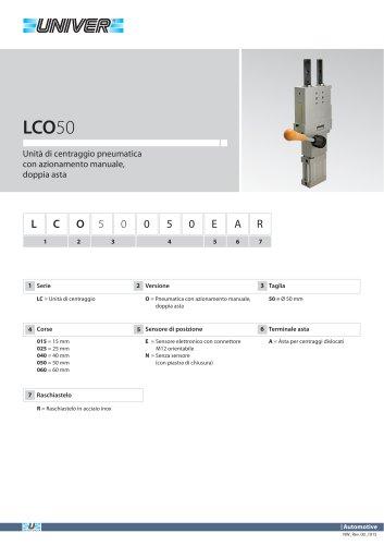 LCO50_Unità di centraggio pneumatica con azionamento manuale, doppia asta