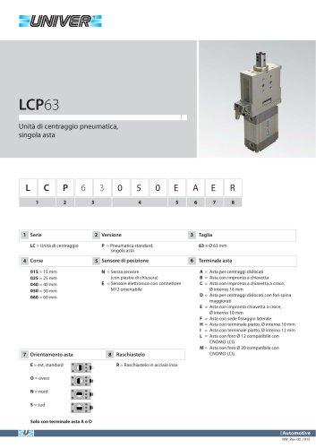 LCP63_Unità di centraggio pneumatica, singola asta