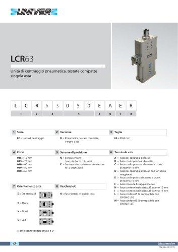 LCR63_Unità di centraggio pneumatica, testate compatte singola asta