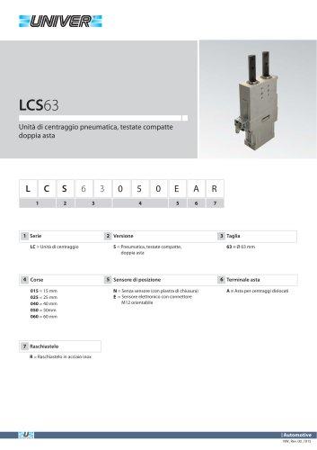 LCS63_Unità di centraggio pneumatica, testate compatte doppia asta