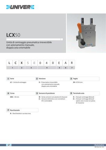 LCX50_Unità di centraggio pneumatica irreversibile con azionamento manuale,  doppia asta orientabile
