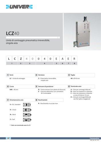 LCZ40_Unità di centraggio pneumatica irreversibile, singola asta