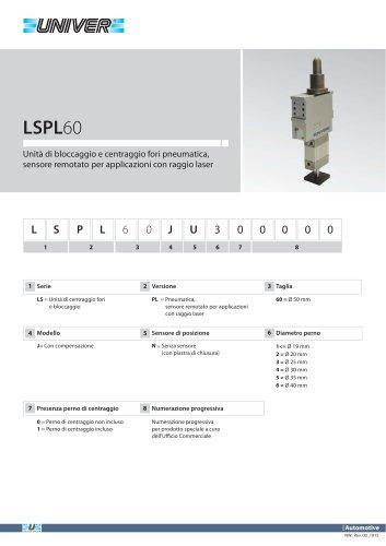 LSPL60_Unità di bloccaggio e centraggio fori pneumatica, sensore remotato per applicazioni con raggio laser