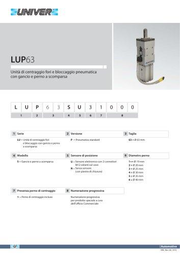 LUP63_Unità di centraggio fori e bloccaggio pneumatica con gancio e perno a scomparsa