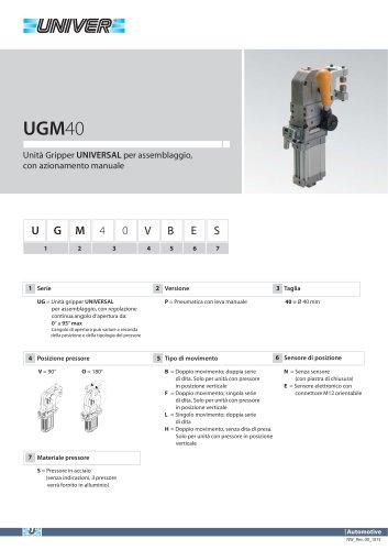 UGM40_Unità Gripper UNIVERSAL per assemblaggio, con azionamento manuale