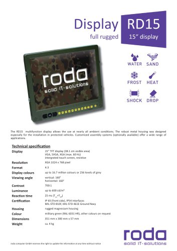 "RD15 RD15 Ruggedized 15"" Display"