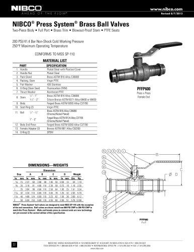 NIBCO® Press System® Brass Ball Valves