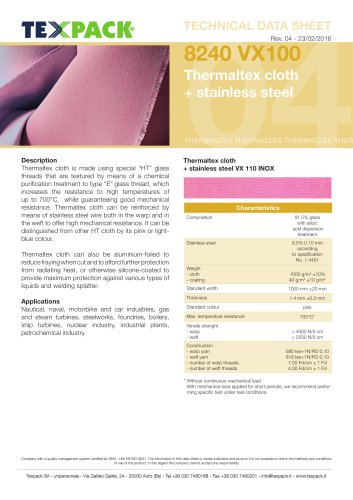 Thermaltex cloth + stainless steel