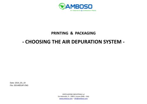 Printing & Packaging: choosing the air depuration system
