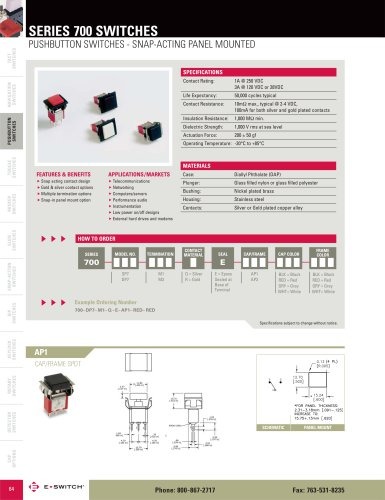 700 Series Snap-Acting, Panel Mount Push Button Switches