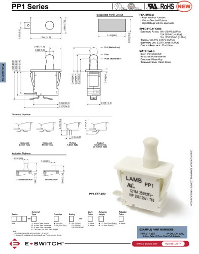 PP1 Series Push Pull Pushbutton Switches